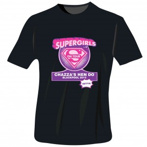Supergirls Hen Do T-Shirt - Black - Medium