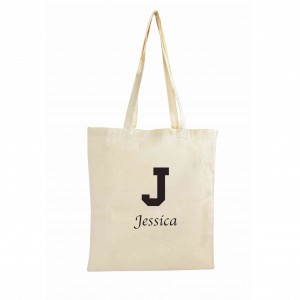 Black Initial Cotton Bag
