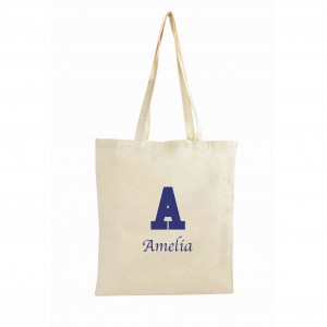 Blue Initial Cotton Bag