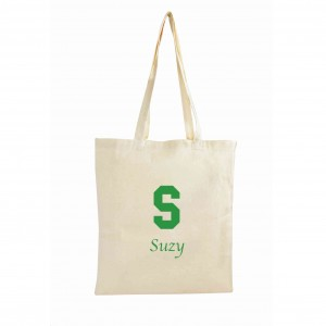 Green Initial Cotton Bag