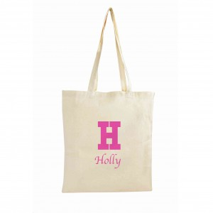 Pink Initial Cotton Bag