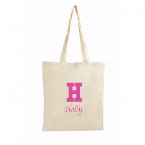 Pink Initial Cotton Bag
