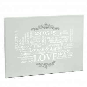 Wedding Typographic Art Canvas