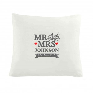 Mr & Mrs Cushion Cover
