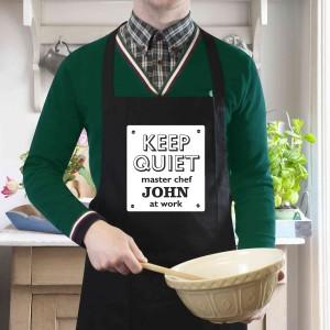 Keep Quiet Black Apron
