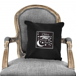 To the Moon and Back...Black Cushion Cover