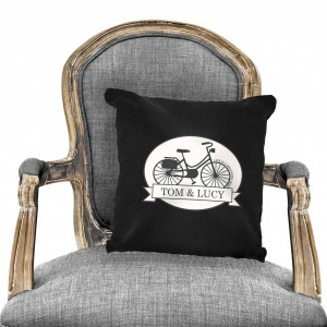 Vintage Bike Black Cushion Cover