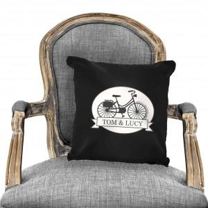 Vintage Bike Black Cushion Cover