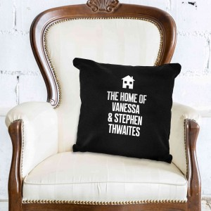 Home Motif Black Cushion Cover