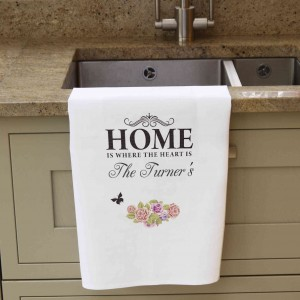 Shabby Chic White Tea Towel