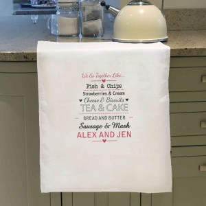 We Go Together Like.... White Tea Towel
