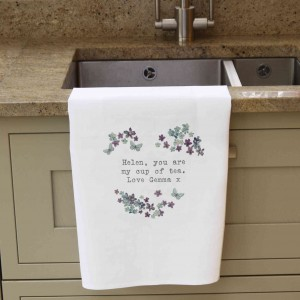 Forget Me Not White Tea Towel