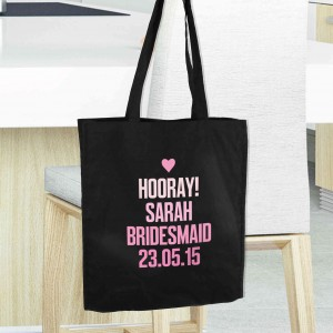 Pink Text Black Cotton Bag