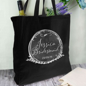 Wreath Black Cotton Bag