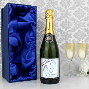 Baby Footprint Blue Champagne with Gift Box
