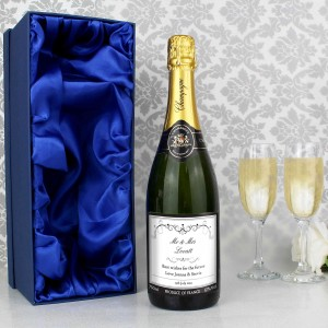 Ornate Swirl Champagne Label with Gift Box