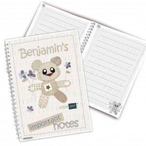 Cotton Zoo Tweed the Bear Blue Notebook