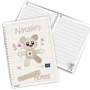 Cotton Zoo Tweed the Bear Pink Notebook