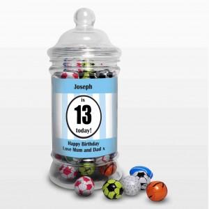 Blue Sports Milk Chocolate Balls Jar