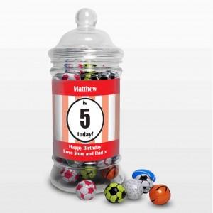 Red Sports Milk Chocolate Balls Jar