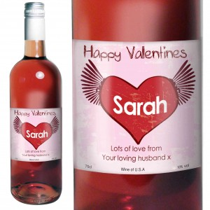 Rose Wine Heart Label with Gift Box
