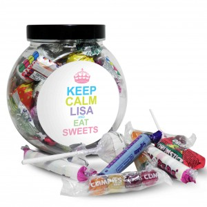 Keep Calm Round Sweet Jar Candy Colours