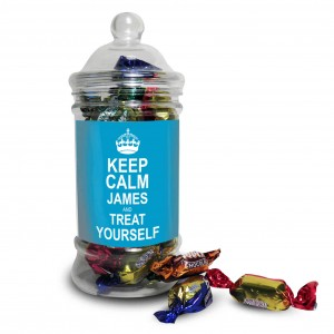 Keep Calm Toffee Jar Blue