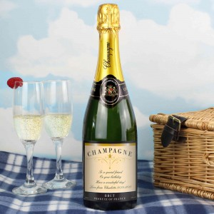 Any Message Classic Label Champagne Bottle with Box