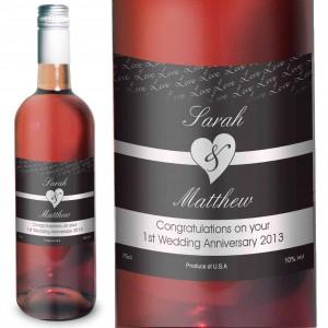 Couples Heart Rose Wine- Black Design
