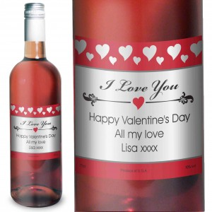 Hearts I Love You Rose Wine