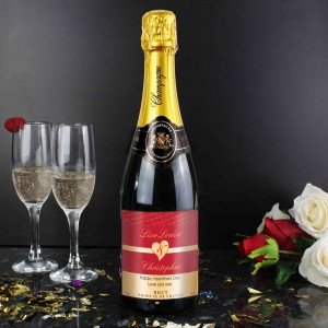 Couples Heart Champagne - Red Design