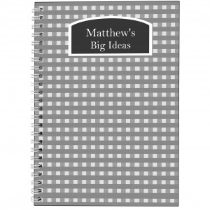 Grey Gingham A5 Notebook