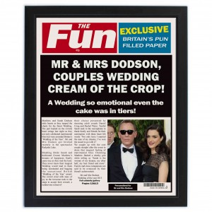 The Fun Spoof Newspaper Wedding Framed Print