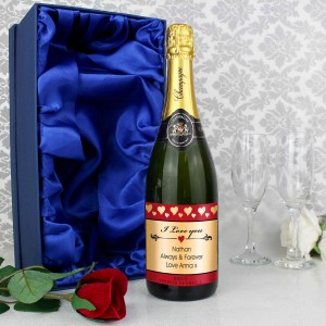 I Love You Champagne and Faux Rose with Gift Box