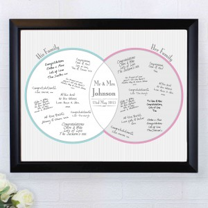 Decorative Wedding Mr & Mrs Guest Book Frame Black