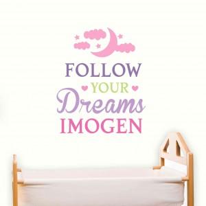 Follow Your Dreams Pink Wall Art
