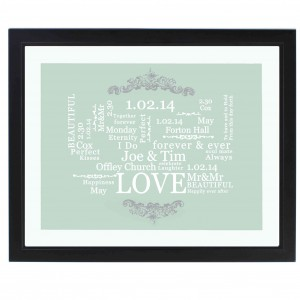 Wedding Typographic Art Poster Black Frame