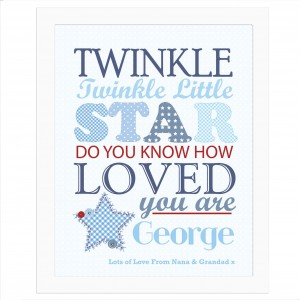 Twinkle Boys Poster White Frame