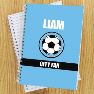 Sky Blue Football Fan Notebook