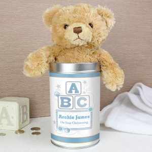 Blue ABC Teddy in a Tin
