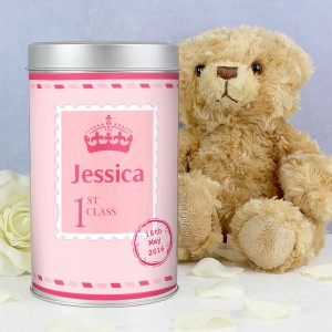 Pink 1st Class Teddy in a Tin