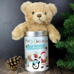 Santa & Friends Teddy in a Tin