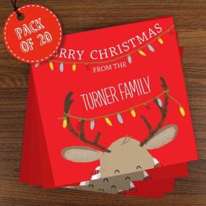 Retro Reindeer Pack of 20 Christmas Cards