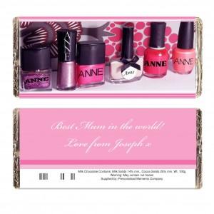 Row of Pink Polish Chocolate Bar