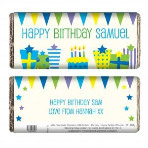 Blue Birthday Presents Chocolate Bar