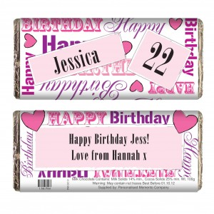Pink Happy Birthday Chocolate Bar