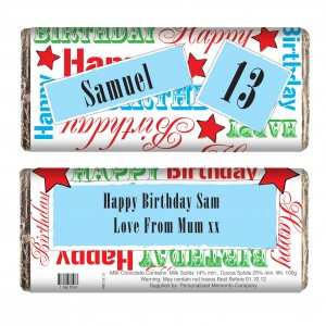 Blue Happy Birthday Chocolate Bar