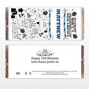 Birthday Blue Icons Choc Bar