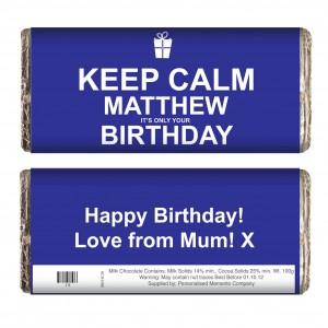 Keep Calm Birthday Chocolate Bar Blue