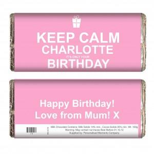 Keep Calm Birthday Chocolate Bar Pink